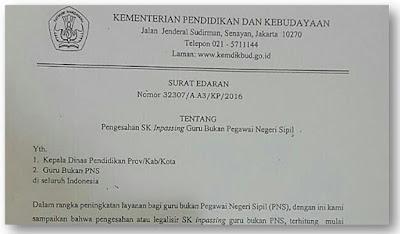 Surat Edaran Tentang Pengesahan SK Inpassing Guru Non PNS tahun 2017