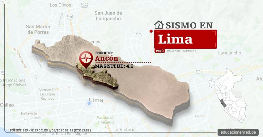 Temblor en Lima de Magnitud 4.5 (Hoy Miércoles 1 Abril 2020) Sismo - Epicentro - Ancón - Lima - IGP - www.igp.gob.pe