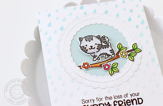 Sunny Studio Stamps: Rain Showers Pet Sympathy Fancy Frames Card by Nancy Damiano