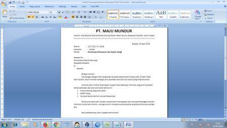 Contoh Surat Permintaan Penawaran Alat Tulis Kantor Arsip