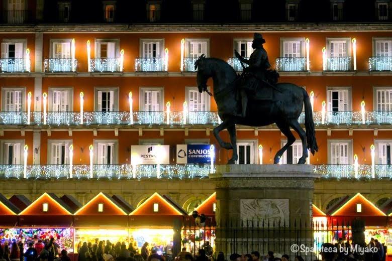 Plaza Mayor en Madrid クリスマスのイルミネーションが素敵なマドリードのマヨール広場