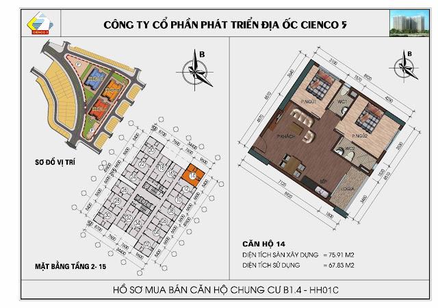 Sơ đồ căn hộ 14 chung cư Thanh Hà Cienco 5 tòa HH01C căn 14