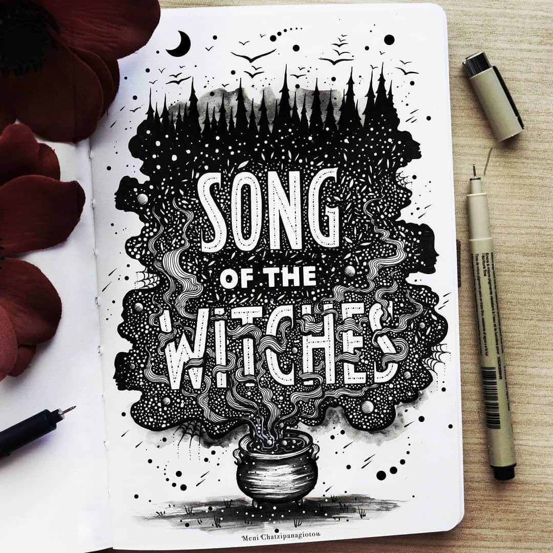 05-Song-of-the-Witches-Meni-Chatzipanagiotou-Fantasy-and-Surreal-Ink-Illustrations-www-designstack-co