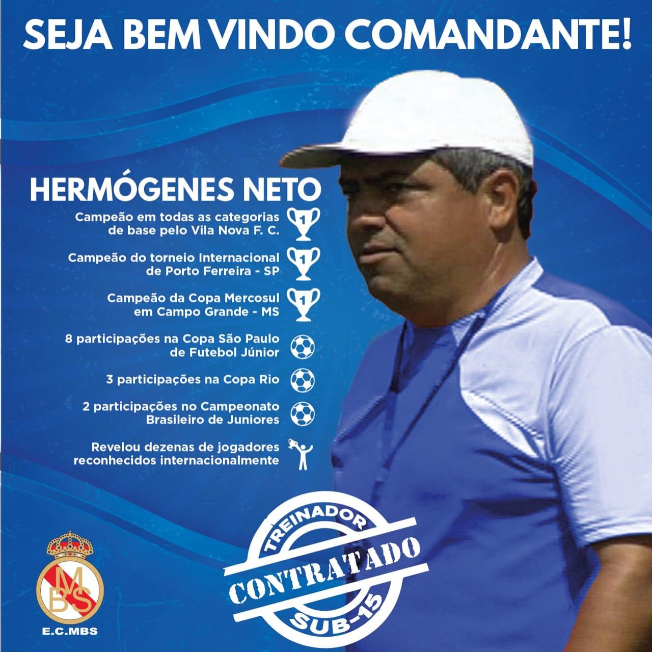 EC MBS contrata experiente Hermógenes Neto para ser o treinador Sub ... 2b65b398d7f38