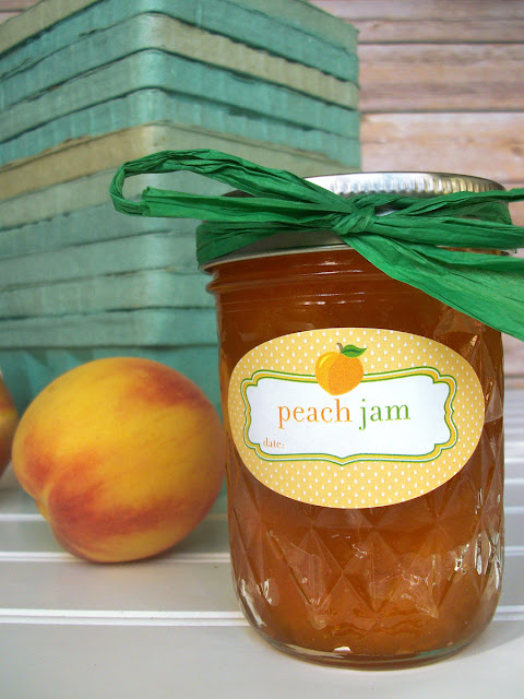 Cute Peach Jam Oval canning labels