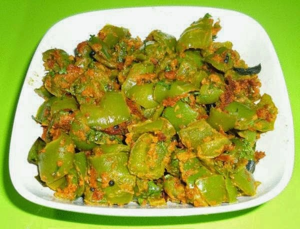 Capsicum sabzi in a serving plate