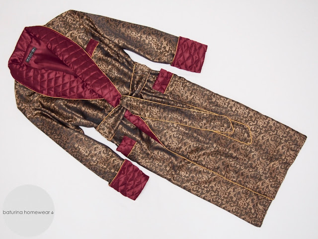 Men's luxury robe dressing gown red gold silk paisley
