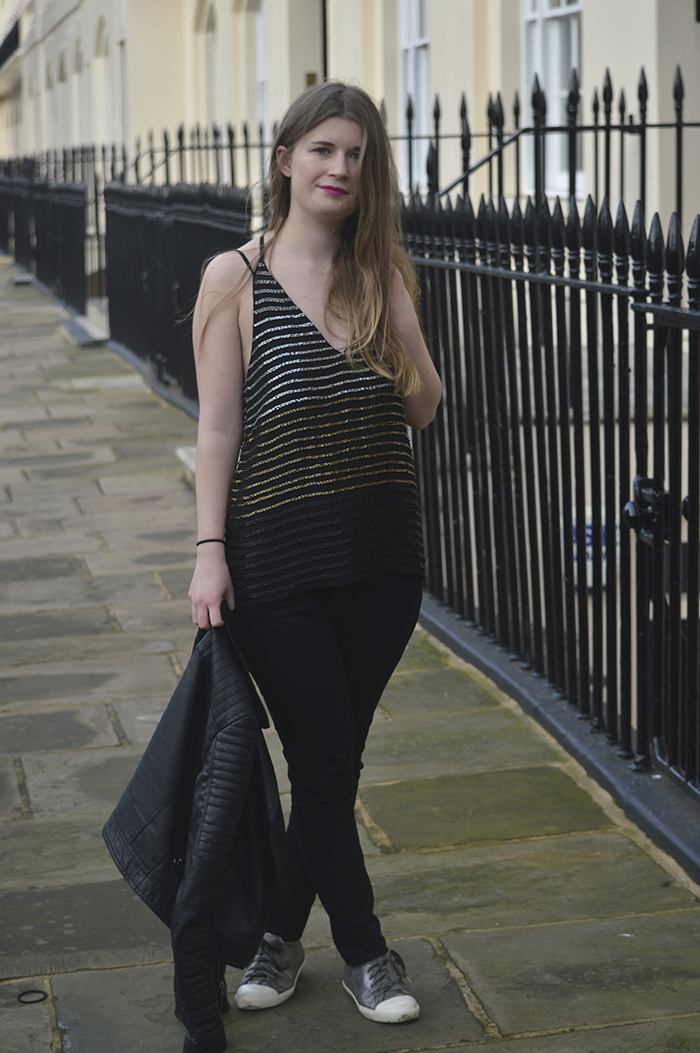 topshop sequin top blogger
