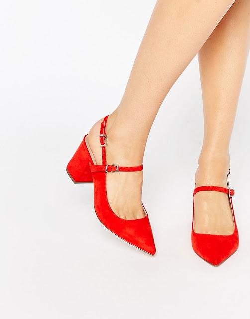 zapatos rojos con poco tacon