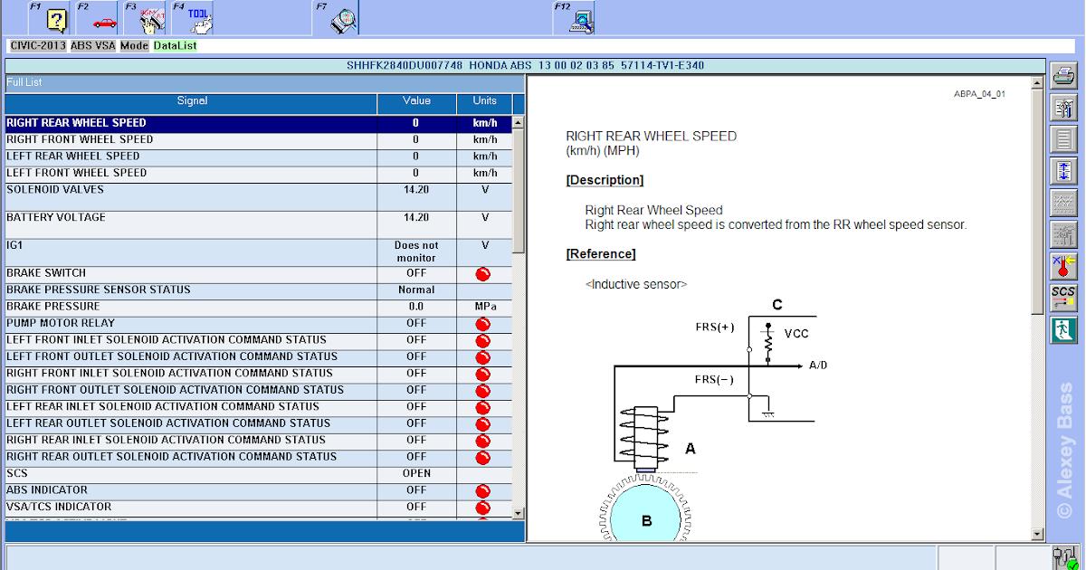 New Honda Civic Hatchback Mk9 2013: HDS - ABS VSA - Data List