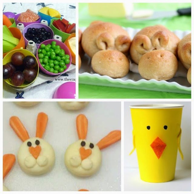 Healthy kids snacks for spring or Easter.  Lots of fun food ideas including flowers, butterflies, bunnies, bees and more!