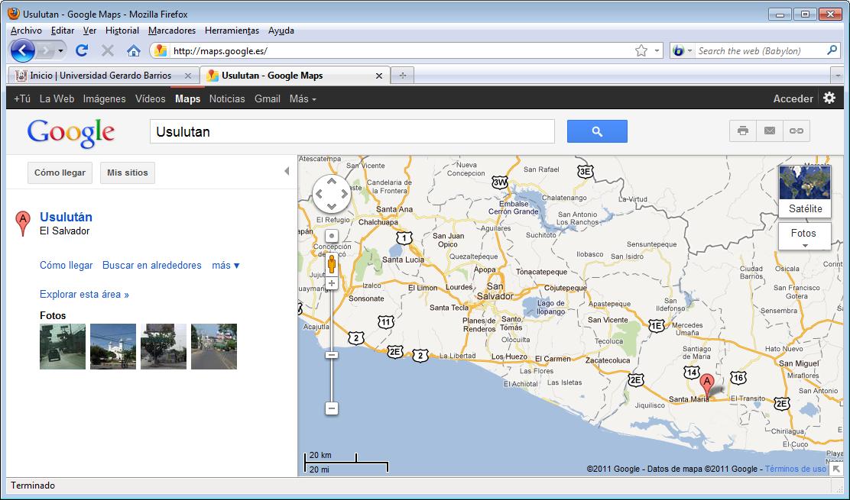 Mapa territorial de Usulután GoogleMap