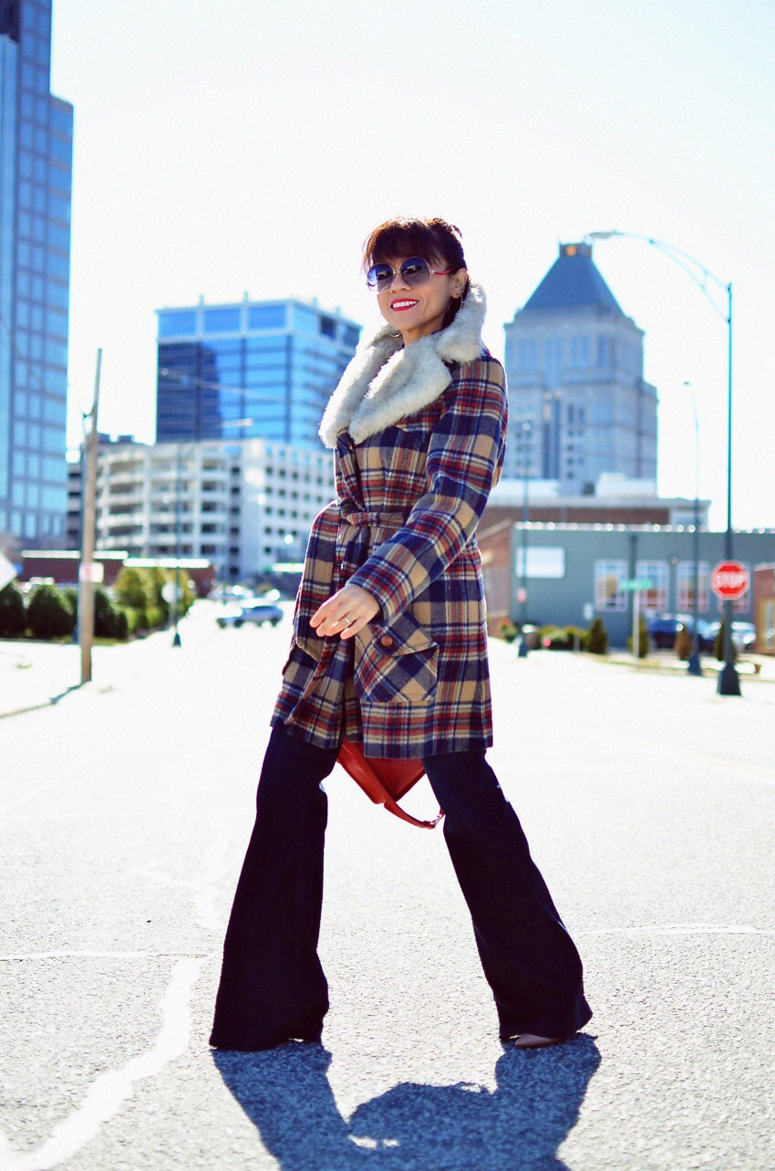 Outfit with plaid coat