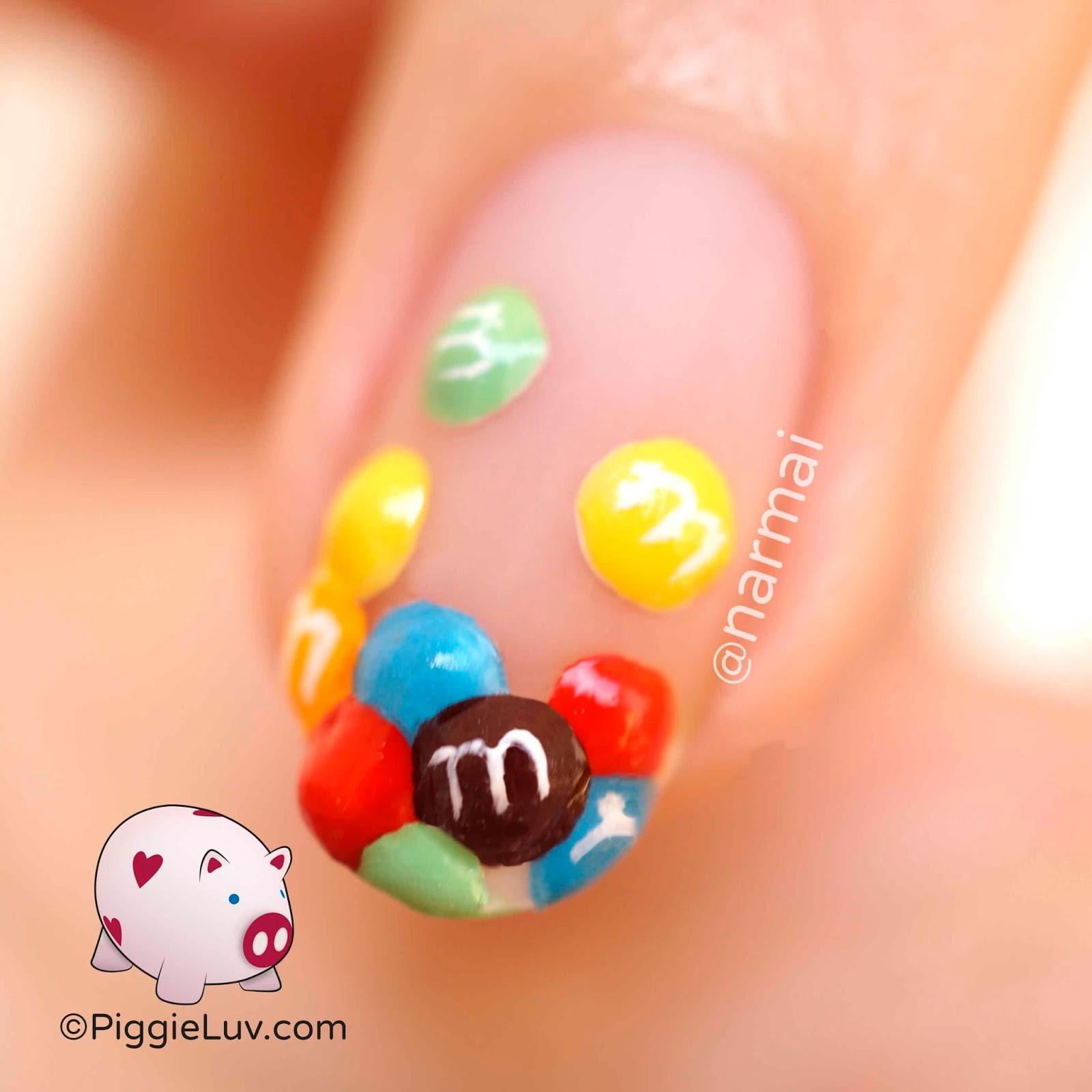 PiggieLuv: 3D M&M\'s nail art