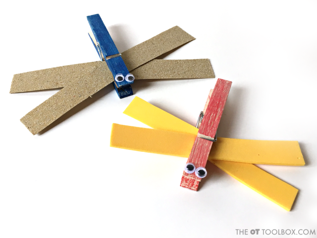 This cute dragonfly craft uses clothes pins and a variety of craft materials to work on skills like bilateral coordination, visual motor skills, and fine motor skills in this creative occupational therapy activity.