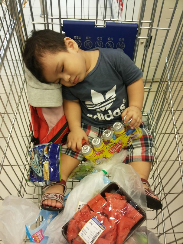 15+ Hilarious Pics That Prove Kids Can Sleep Anywhere - Fell Asleep While Eating Watermelon; In The Cart While Mummy Shops