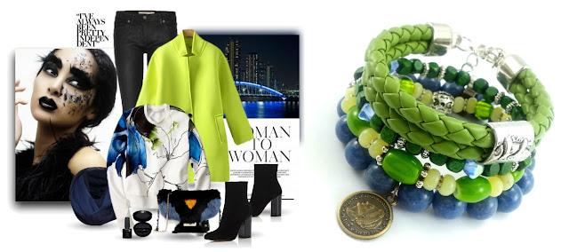 Stylizacja ubrań z zielono niebieskimi bransoletkami