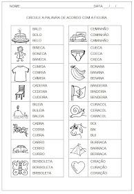Hipótese de Escrita Silábica Alfabética - Circule o nome da figura