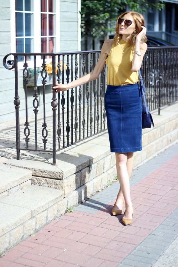 Navy and Mustard 70's Fall style-Jersey Mock Neck Top, Stretch Denim Pencil Skirt, Navy Crossbody Satchel, Suede Cognac Pointy Toe Pump  Le Chateau, Miu Miu Sunglasses, Target Tribal Stripe Boyfriend Cardigan