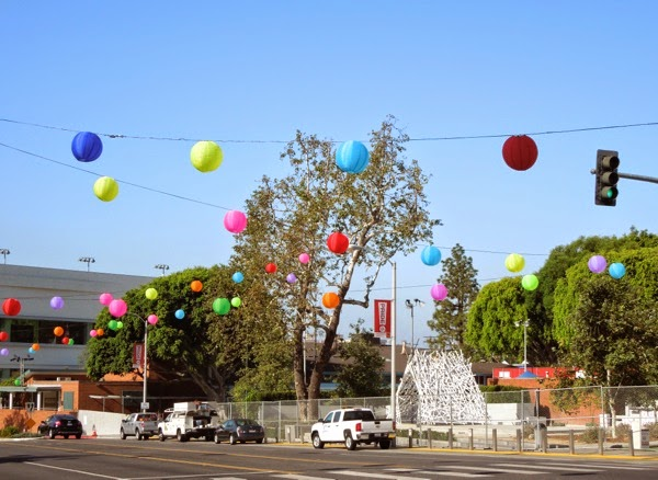 Pride paper lantern decorations West Hollywood 2014