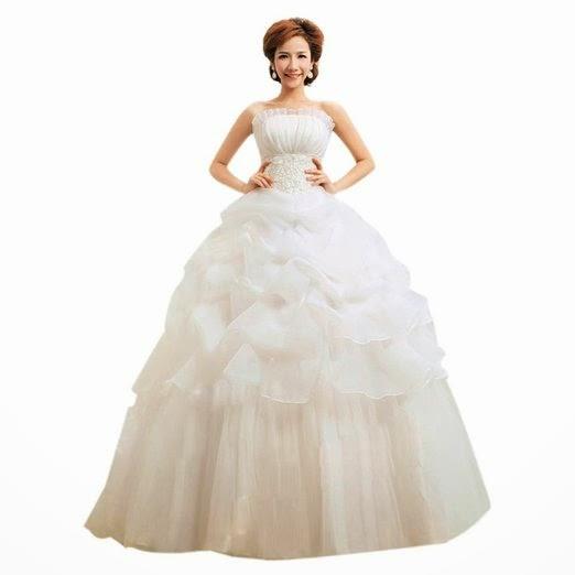 Etosell White Strapless Layered Lace Chiffon Tube Top Bridal