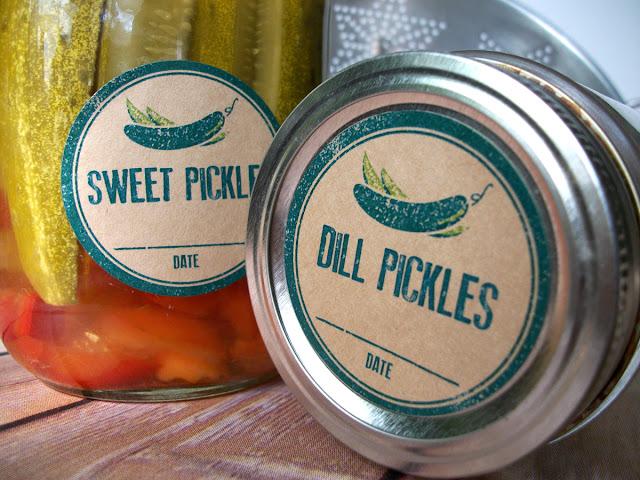 Kraft Rubber Stamp Pickle Canning Jar Labels
