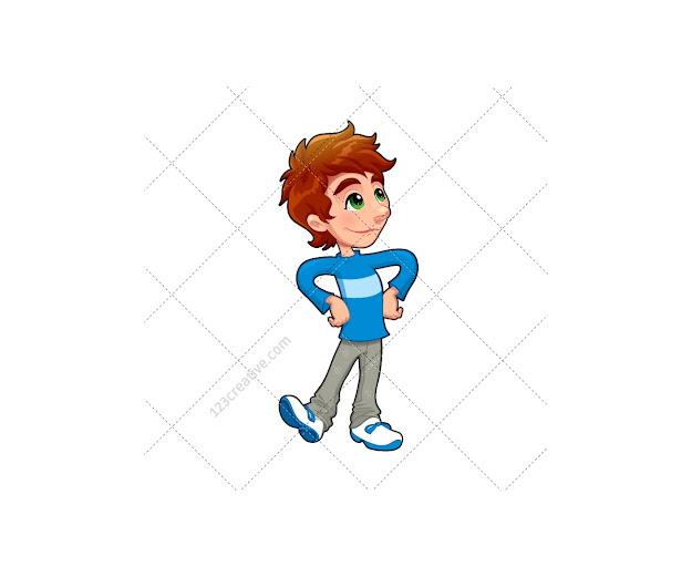 Walking Boy Vector Character Vector