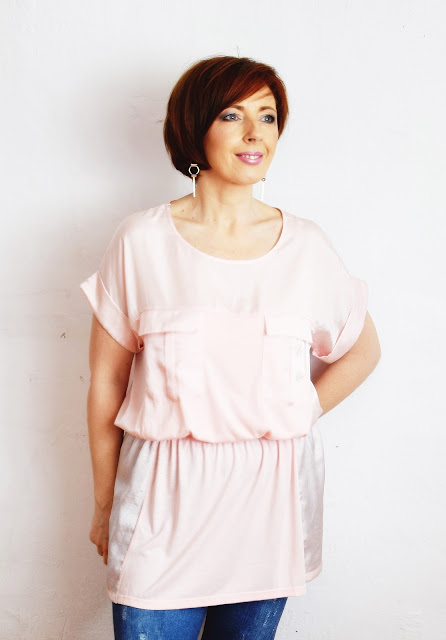 ZAFUL, śliczna różowa bluzeczka z krótkim rękawkiem.