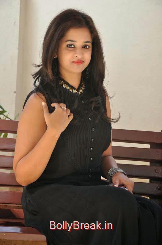 Nanditha Pictures, Nanditha Hot Pics In Black Dress from Movie Krishnamma Kalipindi Iddarini Shooting Spot