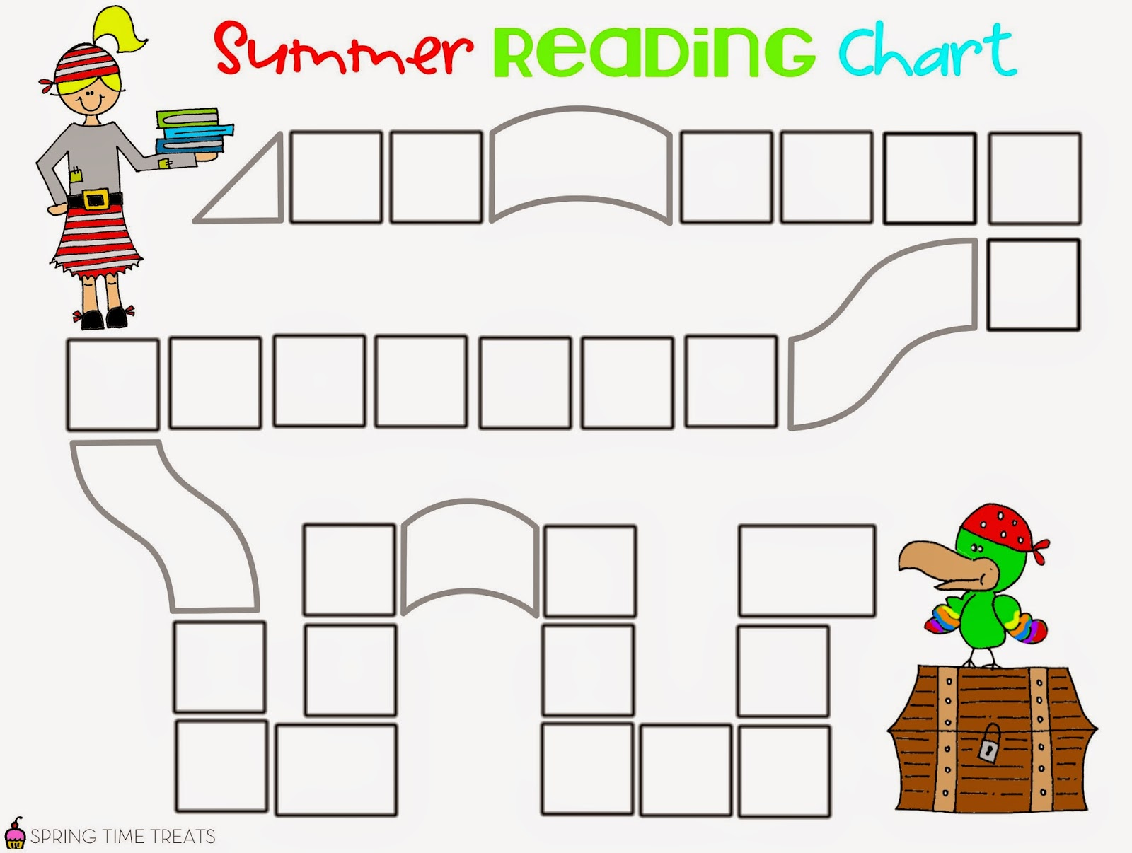 Spring Time Treats Summer Pirate Reading Chart Free