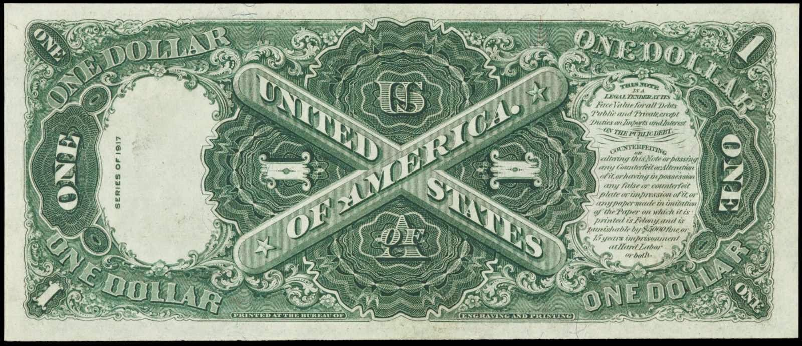 US paper money 1917 One Dollar Legal Tender Note Sawhorse Reverse