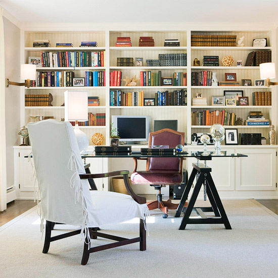 20 Home Office Bookshelves Designs Ideas: Bookcases For A Home Office: Traditional White Vs