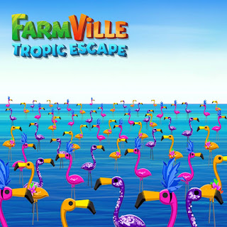 colorful plastic flamingos at the beach, fvtropicescape, blue
