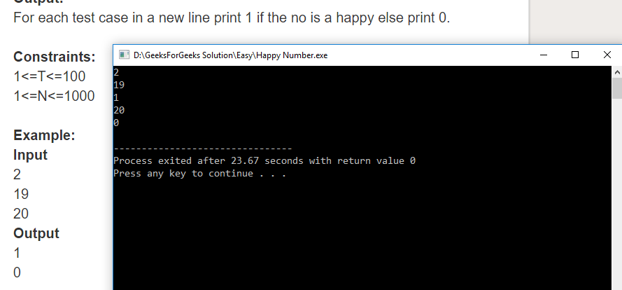 "Geeksforgeeks Solution For "" Happy Number """