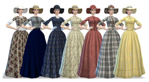 My Sims 4 Blog: Old West Hoop Dresses with Matching Hats ...