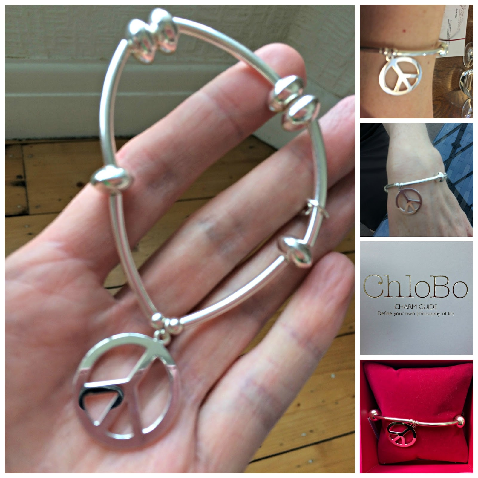 Showing off the ChloBo Noodle Disc Peace Bracelet