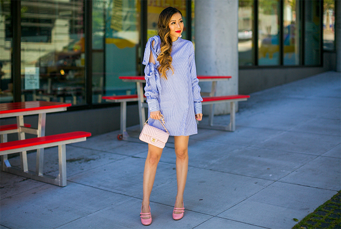 shein bow knot dress, baublebar earrings, chanel classic flap bag, modcloth heels, pastel outfit, spring style, date night outfit ideas, san francisco street style, san francisco fashion blog