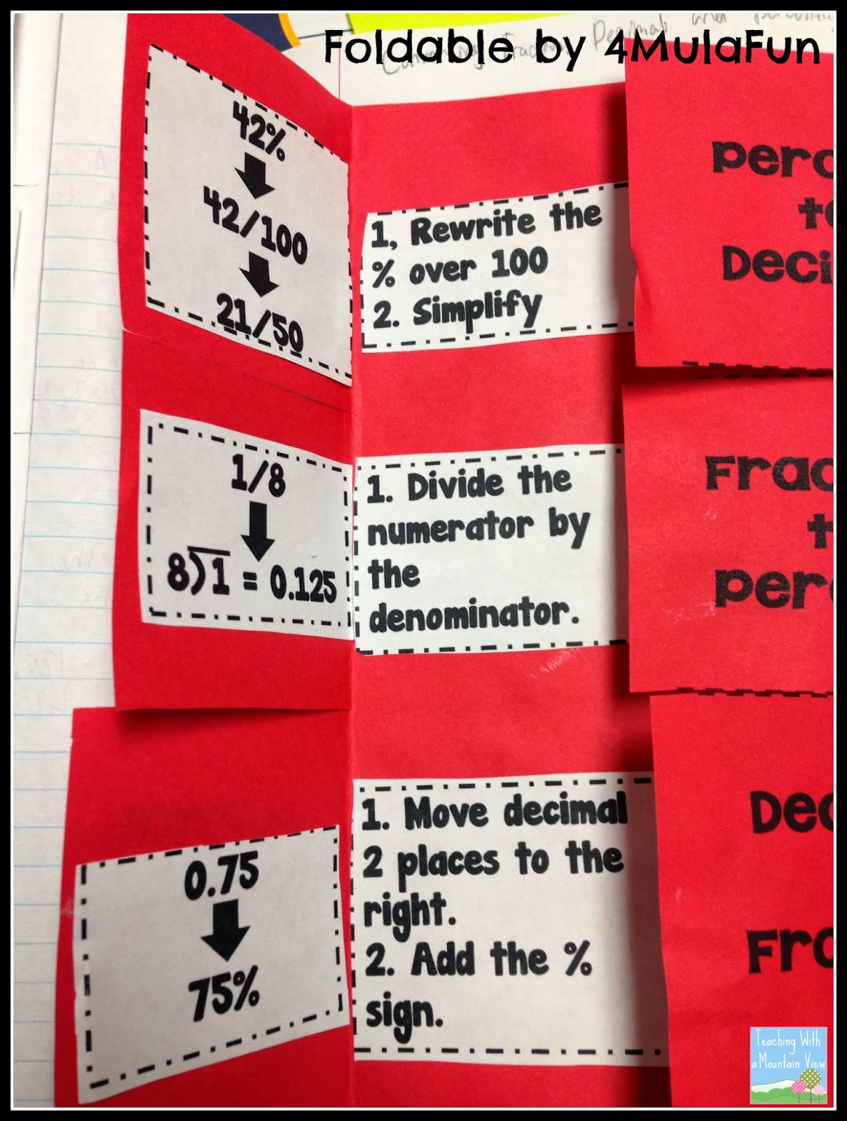 Teaching With A Mountain View Percents Decimals Fractions And A Freebie