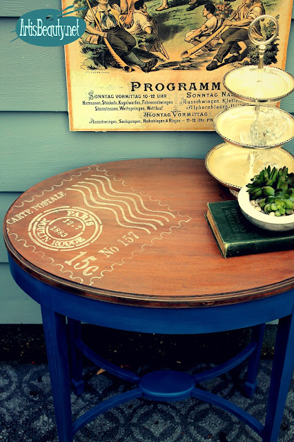 legacy blue chalky finish paint parlor table makeover diy furniture girls frech carte postal pearlized acrylic paint stencil
