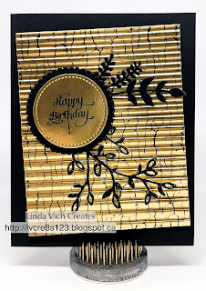 "Linda Vich Creates: Crackled Gold Foil Birthday Card. Black and gold combine to create a ""wow"" card that uses the Crackle Paint stamp on gold foil."