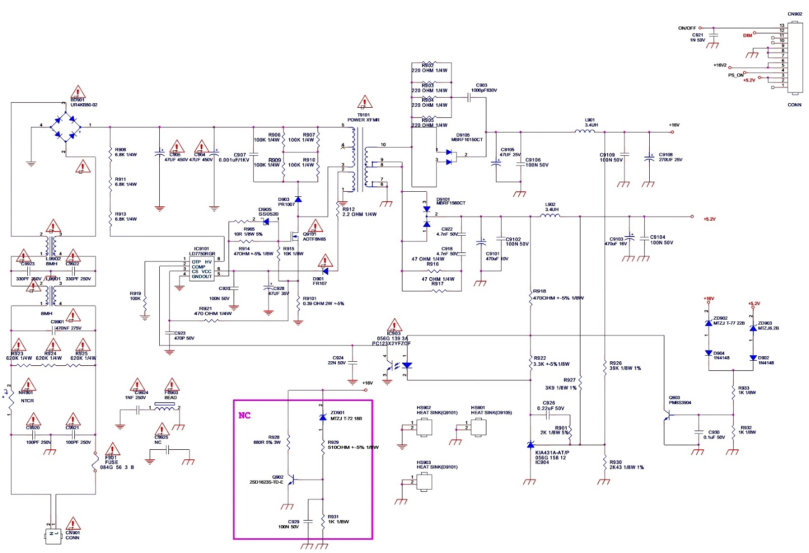 aoc le22h158 led tv power and led driver schematic electro help TV Component Parts smps led driver schematic