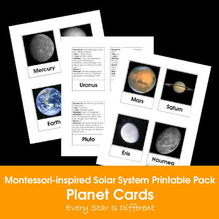 Montessori-inspired Solar System Printable Pack: Planet Cards