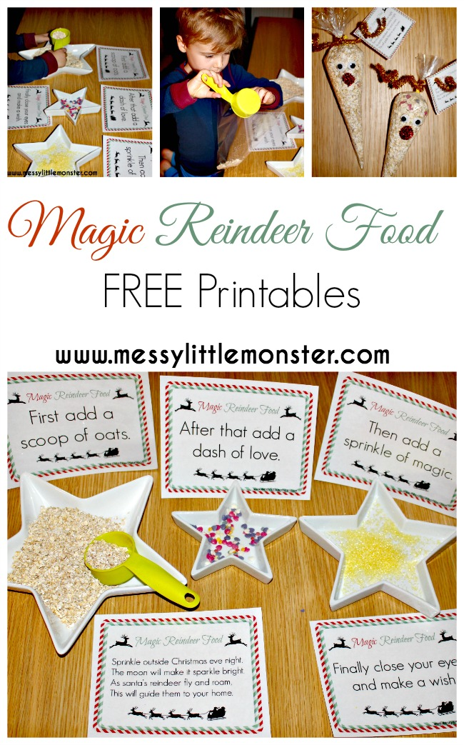 Free printable magic reindeer food poem and signs. Use the labels to set up a magical Christmas activity for kids. A fun idea for Christmas eve for toddlers, preschoolers and older kids.