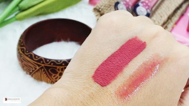 Swatches Looké Cosmetics - Holy Lip Creme Thalia   Holy Lip Polish Luna