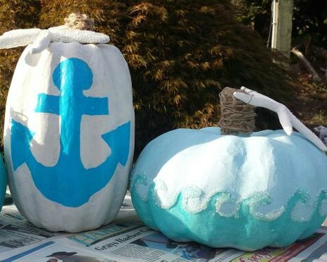 Anchor and Wave Painted Pumpkins