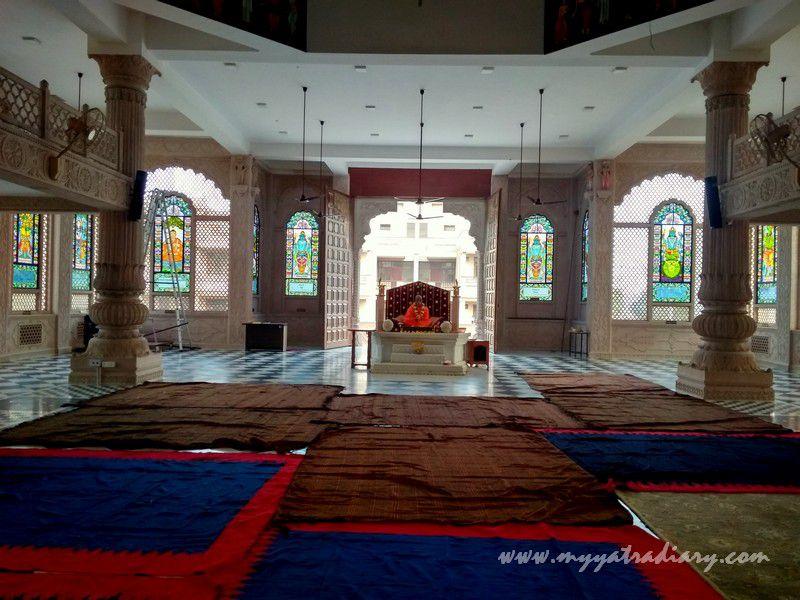 ISKCON temple Srila Prabhupada stained glass window vedic art gallery - ISKCON Jaipur, Rajasthan