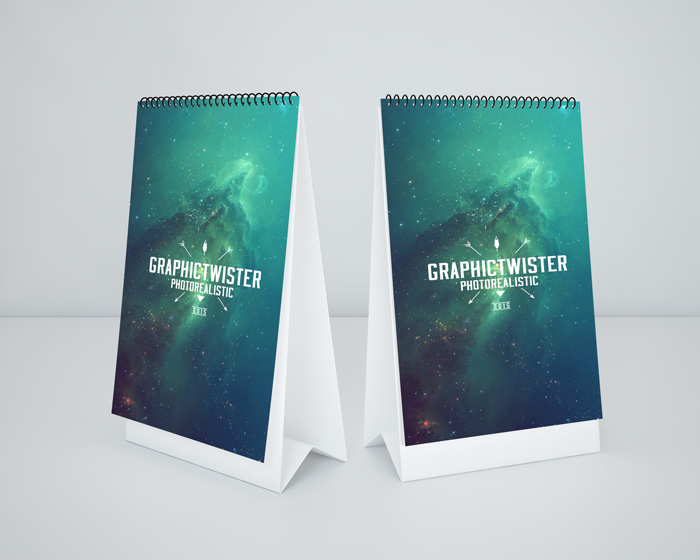 Download Mockup Kalender PSD Terbaru Gratis - Double Small Desk Calendar MockUp