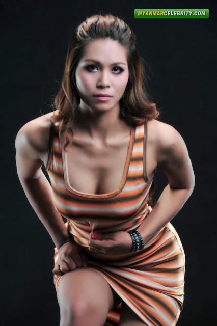 Hot Model Zar Zar Htet in Orange Stripe Mini Dress