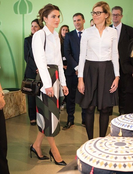 Queen Rania wore Dior black calfskin leather pumps, Fendi pattern skirt, blouse and carried Fendi Leather bag