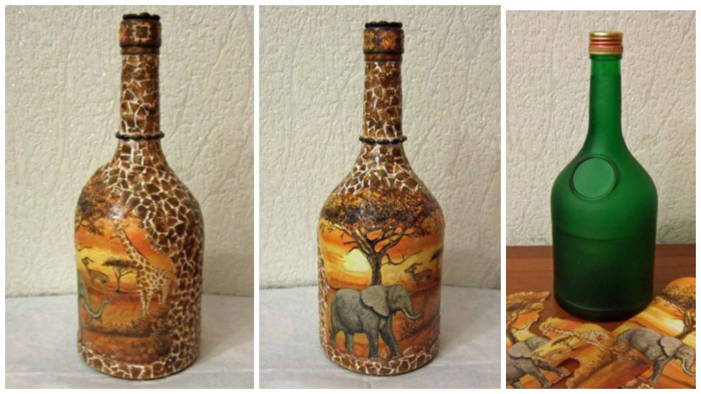 Botellas De Vidrio Decoradas Aprende Cómo Decorar Botellas Con Servilletas De Decoupage